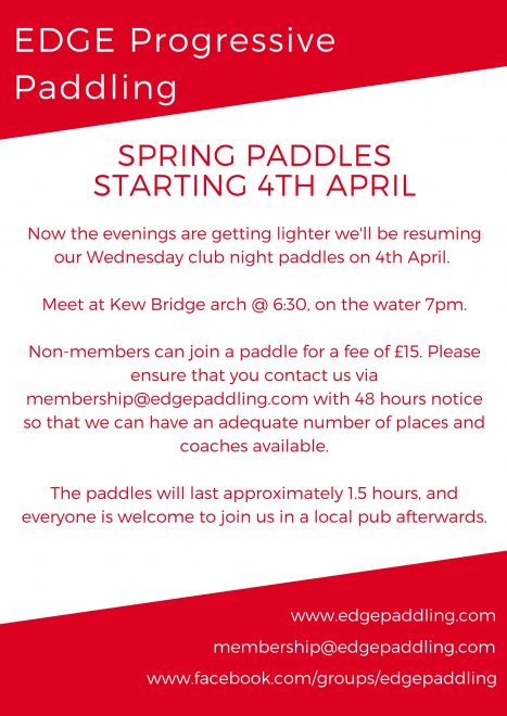 Spring Paddles Starting again!